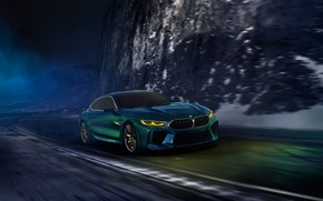 Picture road, night, movement, coupe, BMW, 2018, M8 Gran Coupe Concept