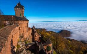 Picture clouds, landscape, nature, castle, France, Alsace, Haut-Koenigsbourg