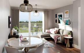 Picture interior, balcony, living room, dining room, small room