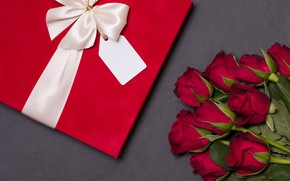 Picture love, gift, roses, bouquet, red, red, love, flowers, romantic, valentine's day, roses, gift box