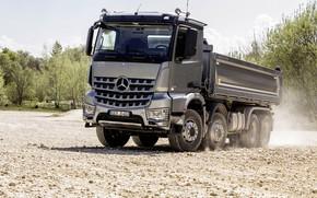Picture grey, Mercedes-Benz, dust, gravel, the ground, dump truck, Arocs, four-axle