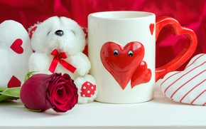 Picture holiday, toy, heart, bear, mug, Valentine's day