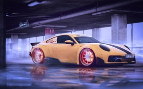 Picture Auto, Yellow, Porsche, Fire, Machine, Car, Fire, Art, Flame, Render, Porsche 911, Design, Supercar, Supercar, …