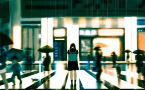 Picture sadness, cat, girl, the city, people, rain, school uniform