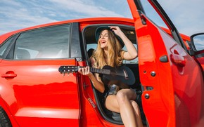 Picture the sky, girl, the sun, joy, red, pose, smile, shorts, guitar, hat, makeup, Mike, hairstyle, …