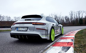 Picture Porsche, Panamera, rear view, 2018, Turbo S, TechArt, Sport Turismo, E-Hybrid, Grand GT