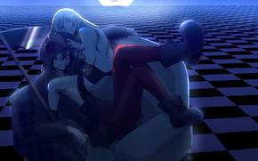 Picture girl, smile, room, pair, braid, guy, Angel bloodshed, Satsuriku no Tenshi