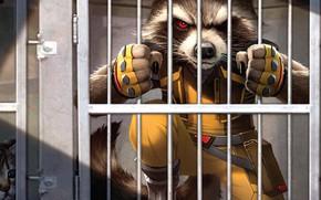 Picture fantasy, cat, comics, prison, artwork, fantasy art, Guardians of the Galaxy, Rocket Raccoon, bars