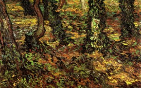 Picture grass, trees, nature, Vincent van Gogh, Tree Trunks, with Ivy 2