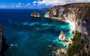 Picture sea, coast, rocks, indonesia, nusa penida island, nusa penida, sea shore
