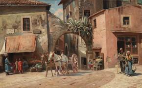 Picture Italy, Danish painter, 1928, Peter Merk Of Menstad, Peder Mørk Mønsted, Danish realist painter, Street …