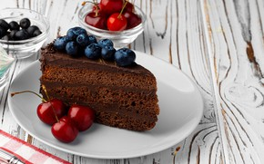 Picture berries, plate, cake, chocolate