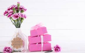 Picture flowers, gifts, vase, congratulations, Mother's day