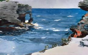 Picture sea, rocks, figure, watercolor, Winslow Homer, Winslow Homer, Rocky Coast