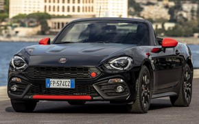 Picture car, Roadster, convertible, front, Fiat, blac, Abarth, black car, Abarth 124 Spider 70esimo Anniversario, Fiat ...