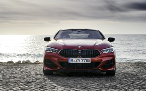 Picture shore, coupe, BMW, front view, Coupe, 2018, 8-Series, dark orange, M850i xDrive, Eight, G15