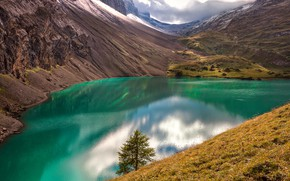 Picture grass, water, clouds, light, mountains, lake, reflection, tree, hills, shore, the slopes, spruce, green, mountain, …