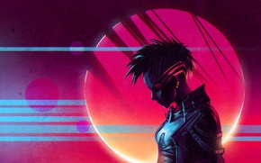 Picture Girl, Red, Piercing, Jacket, Retrowave, Scandroid, Synthwave, Sintav, Retrouve