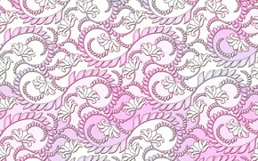 Picture white, flowers, background, curls, ornament, pattern.pink