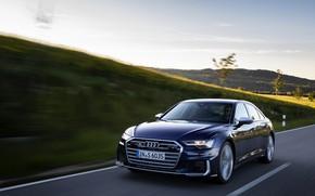 Picture Audi, speed, sedan, dark blue, Audi A6, 2019, Audi S6