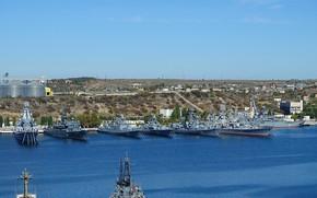 Picture ships, pier, combat, Sevastopol