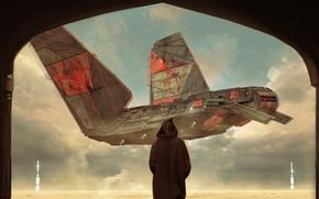 Picture People, Fantasy, Art, Art, Spaceship, Fiction, Landing, Concept Art, Spaceship, Vehicles, the arrival, Science Fiction, ...