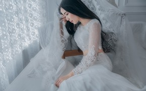 Wallpaper girl, face, pose, style, room, white, portrait, chair, brunette, window, curtains, profile, lace, Asian, sitting, ...