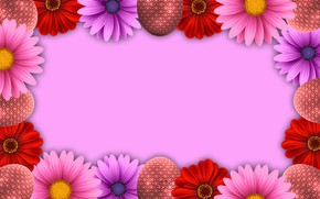 Picture flowers, rendering, eggs, Easter, easter