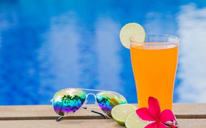 Picture beach, summer, stay, juice, glasses, juice, summer, beach, vacation, orange, paradise, drink, citrus, vacation, tropical, ...
