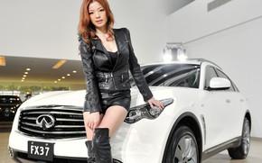 Picture look, Girls, Asian, beautiful girl, white car, posing on the car, Infiniti FX37