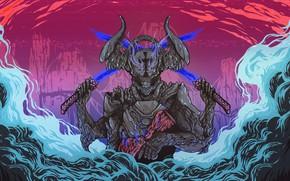 Picture Music, Smoke, Monster, Style, Sword, Background, The demon, Swords, Horns, Monster, Devil, Style, Fiction, Smoke, …