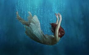 Picture depth, dress, red hair, red hair, dress, dip, diving, air bubbles, depth, air bubbles, девочка …