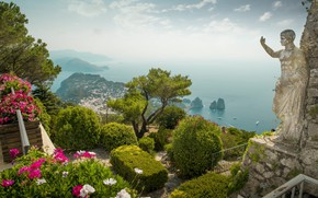 Picture sea, flowers, Italy, panorama, statue, the bushes, Capri