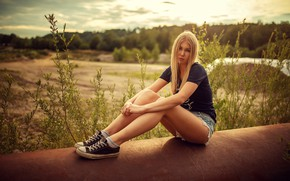 Wallpaper grass, the sun, trees, nature, pose, model, shorts, sneakers, portrait, makeup, figure, pipe, t-shirt, hairstyle, ...