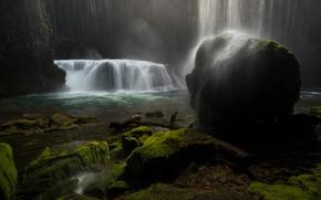 Picture water, squirt, stones, rocks, stone, waterfall, stream, waterfalls