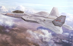 Picture art, airplane, aviation, jet, f-22 raptor