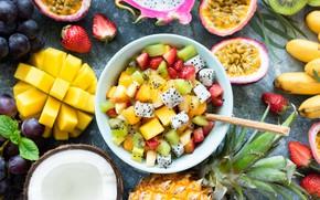 Picture kiwi, strawberry, plate, grapes, fruit, mango, pineapple, banana, passion fruit