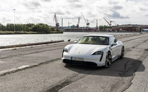 Picture asphalt, Porsche, port, Turbo S, 2020, Taycan