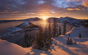 Picture winter, forest, the sky, clouds, snow, lake, island, The sun, ray