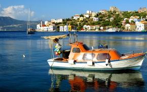 Picture sea, landscape, mountains, nature, island, home, boats, Greece, boats, Kastelorizo