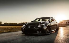 Picture Lexus, Japan, Beautiful, Black, Sunset, Evening, GS-F