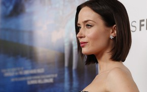 Picture look, girl, pose, wall, figure, actress, Emily Blunt, Emily Blunt, hair