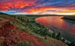 Picture landscape, sunset, nature, river, hills