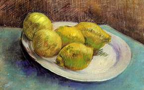 Picture table, plate, Vincent van Gogh, Still Life with, Lemons on a Plate, 5 lemons