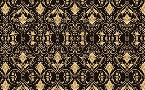 Picture retro, background, gold, black, texture, ornament, vintage