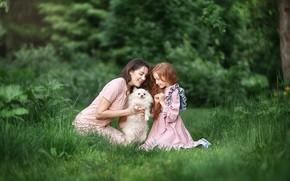 Picture summer, look, girl, joy, happiness, nature, child, dog, girl, Anastasia Barmina
