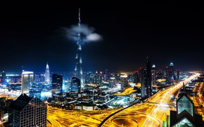 Picture night, the city, lights, darkness, view, building, tower, skyscrapers, the evening, cloud, Dubai, architecture, megapolis, …
