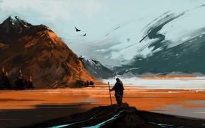 Picture river, landscape, nature, art, mountains, snow, birds, man, artist, digital art, artwork, hiking, BisBiswas