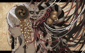 Picture Girl, Look, Bells, Decoration, Mask, The demon, nanahara shie