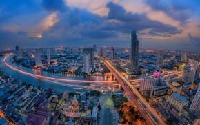 Picture night, the city, lights, river, Thailand, Bangkok, Thailand, Bangkok